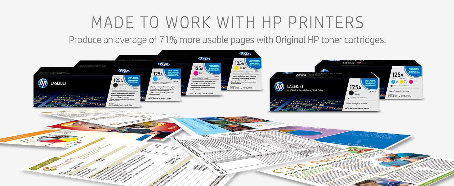 black and white printing, cyan, magenta, yellow, HP toner, LaserJet Pro