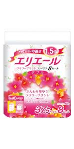 エリエール トイレットペーパー フラワープリント 1.5倍巻き 37.5m×8ロール ダブル パルプ100% 優雅な花の香り
