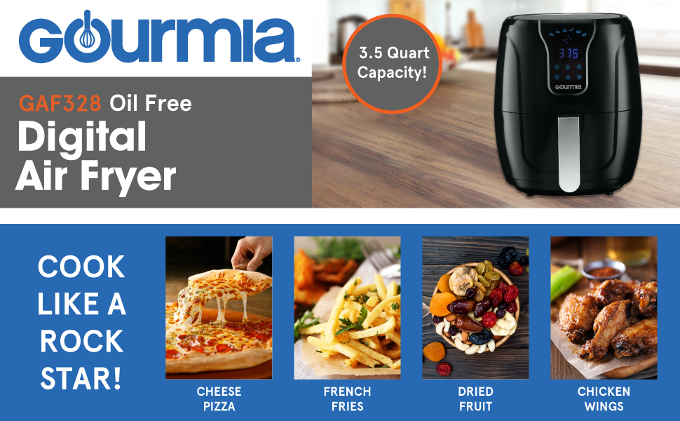 Product image and features of the Digital Air Fryer from Gourmia.