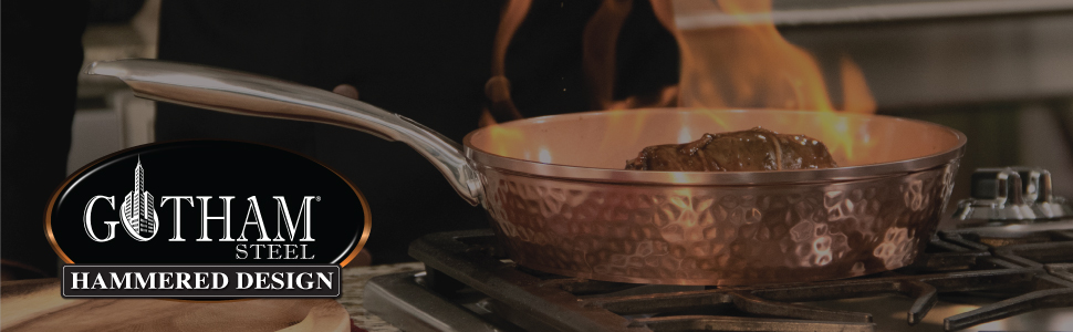 Gotham Steel, copper hammered cookware, non toxic, ultra non-stick