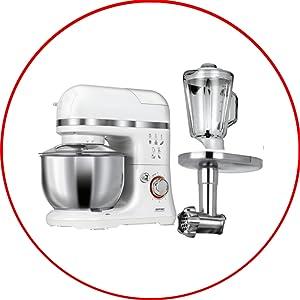 MPM MRK-15 Robot Cocina Orbital Profesional, Amasadora repostería, Picadora Carne, Batidora Vaso 1.5L, Velocidad electrónica, 4 litros, 1200W, Blanco, 1200 W, Acero Inoxidable: Amazon.es: Hogar