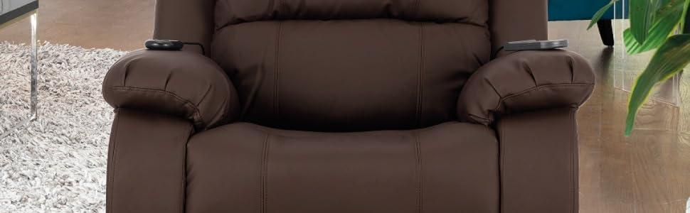 Novohogar Sillón de Masaje Levantapersonas Coliseum con Función Calor, 8 Motores de Vibración, Respaldo Reclinable 160º (Chocolate)