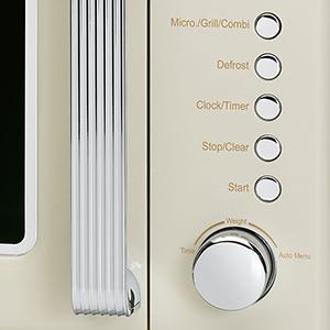 Clatronic MWG 790 - Microondas con grill 20 litros, 700/1000 W, display digital, 9 programas automáticos, timer, serie Rock&Retro estilo vintage, ...