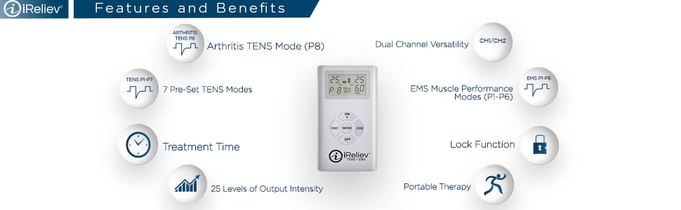 ET-7070 TENS + EMS Therapy Unit Features and Benefits by iReliev Products