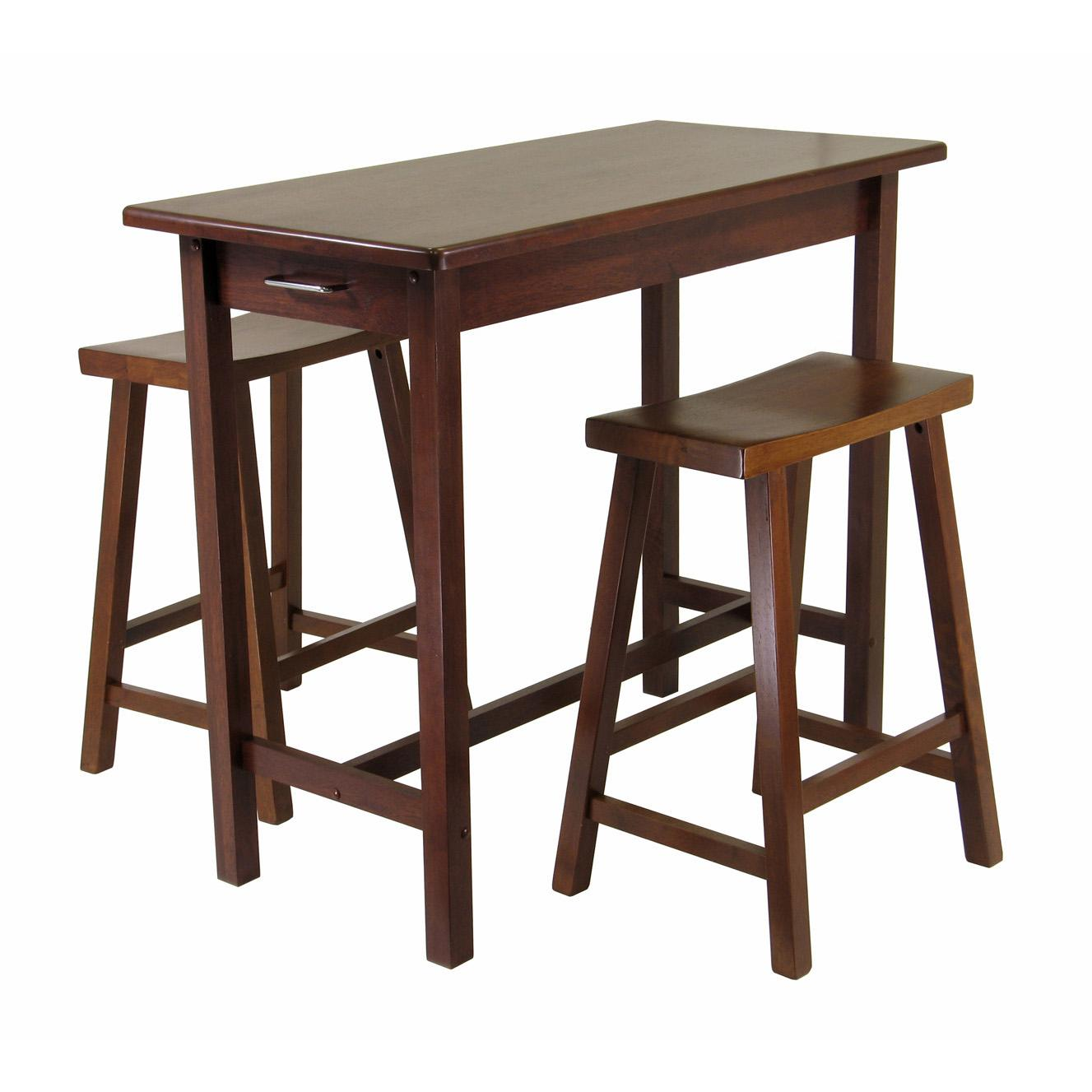 Winsome kitchen island table with 2 drawers and saddle stools