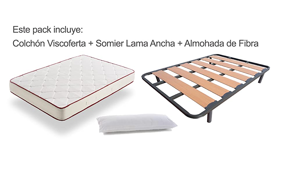 Colchón Viscoelástico Viscoferta + Somier De Lama Ancha Reforzado Con Tacos Anti-Ruido Con 4 Patas + Almohada De Fibra Resinada (135x190 - Patas 26 ...