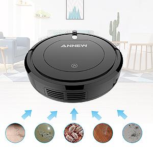 ANNEW Aspirapolvere Robot con Telecomando 3 modalità di Pulizia Anti-Caduta Filtro HEPA- per Capelli di Animali Domestici/tappeti/Pavimenti duri