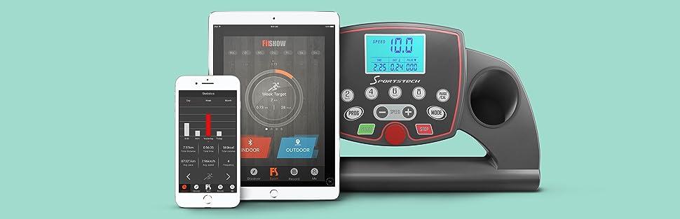 F10, Sportstech, Treadmill, Smart device, Smart phone, Smart phone, tablet, bluetooth, google