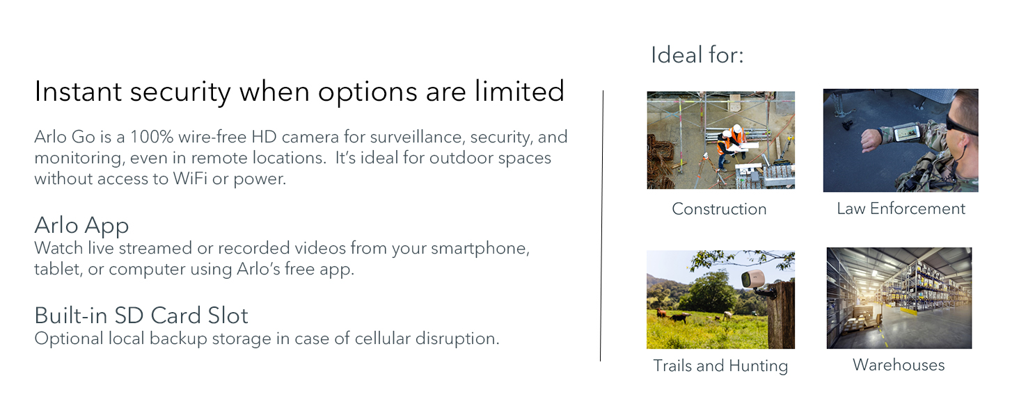 Arlo, Go, Mobile, Camera, Security, LTE, Hunting, Construction, law enforcement, warehouses