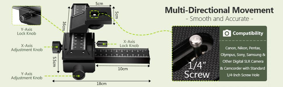 Neewer 16cm Control Deslizante Enfoque Macro en Dos Direcciones Control Deslizante Riel//Disparo en Primer Plano para Canon Nikon Pentax Olympus Sony Samsung para Tornillo 1//4