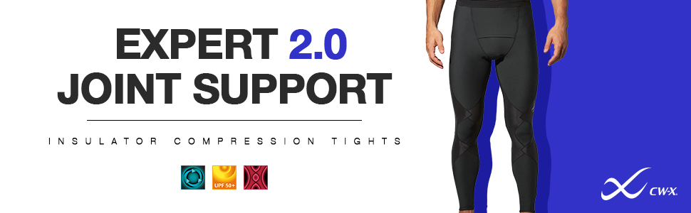 men's cw-x expert 2.0 insulator joint support compression tights, thermal compression tights