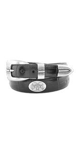 Mens black croco leather college concho belt