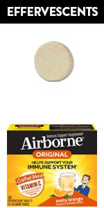 Airborne Zesty Orange Effervescent Tablets Immune Support Vitamin C Zinc