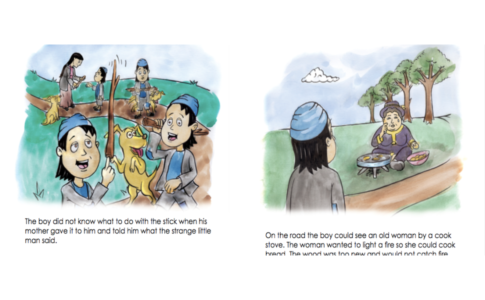 Indian folktale, sharing, magic stick, poor boy, wedding horse, little old man, drum folktales