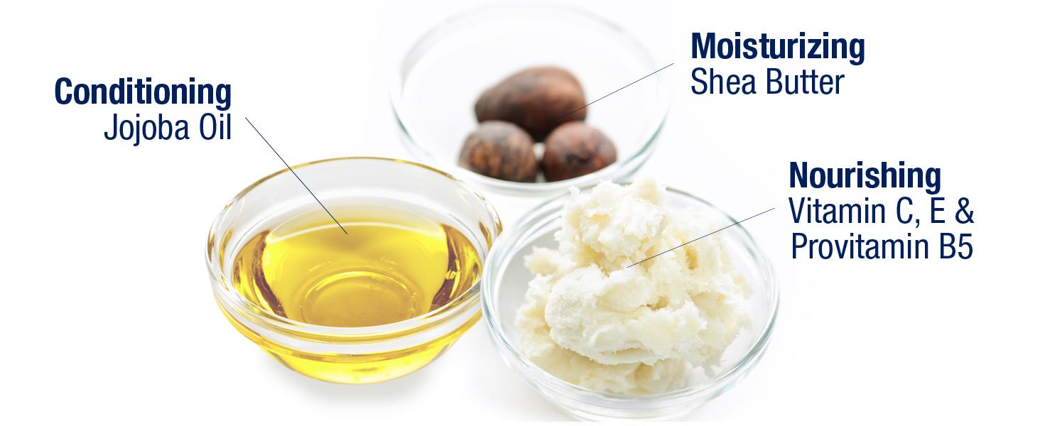 conditioning jojoba oil, moisturizing shea butter, nourishing vitamin c, vitamin e, provitamin b5