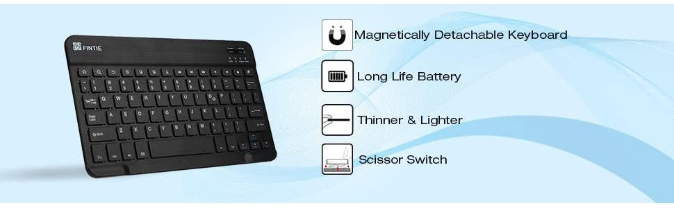 Fintie Keyboard Case for All-New Fire HD 10 (7th Generation, 2017 Release), Slim Lightweight Stand Cover with Detachable Wireless Bluetooth Keyboard ...