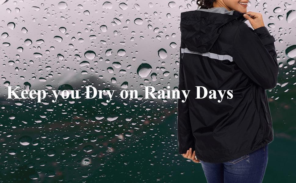 Mywu Women Packable Raincoat Waterproof Lightweight Outdoor Hooded Rain Jacket