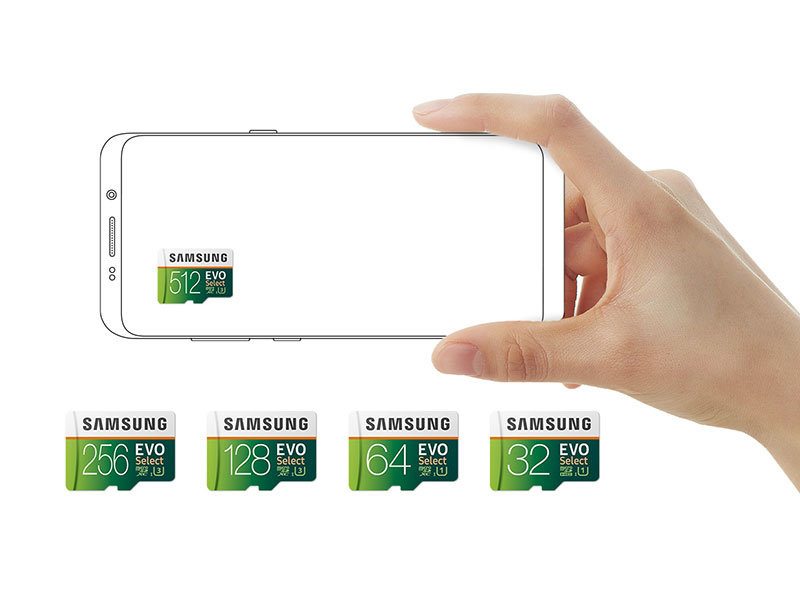 Choose from Samsung 512 GB, 256 GB, 128 GB, 64 GB or 32 GB EVO Select Memory Card