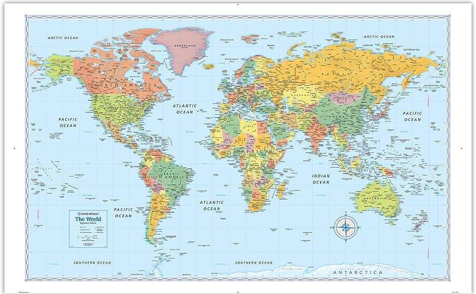 Rand Mcnally Signature World Wall Map Laminated Rand Mcnally 9780528012754 Books Amazon Ca