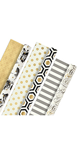 Black and gold wrapping paper for brides, grooms, husbands, wives, graduates, retirees and more