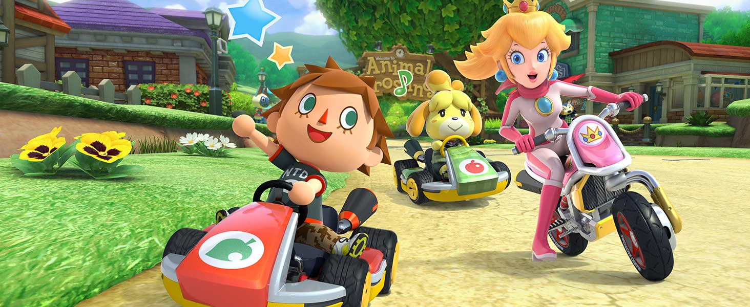 Peach, Villager and Isabelle race around the corner!