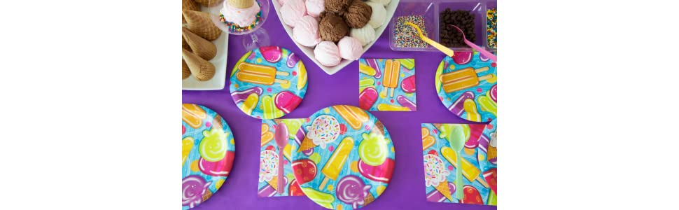 "Sunshine Striped Ice Cream Popsicle Summer Beach Pool Party 7/"" Dessert Plates"