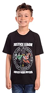 Warner Bros. Little Boy's Boys Justice League Defense T-shirt Shirt, black, 7