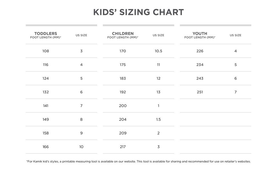 Size chart Kamik