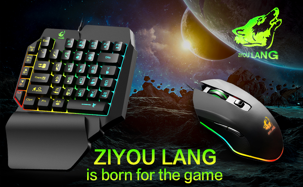 Xflelectronic Gaming Keyboard Mouse Sets Wired USB Ergonomic Gaming Keyboard,Technology Keyboard and Mouse Combo,with Hand Support,for PC PS4 Xbox One
