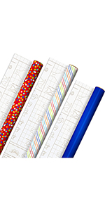 Red, blue amp; rainbow wrapping paper with templates for handmade gift bows and ribbon for kids