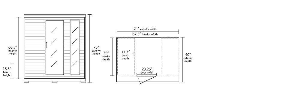 Radiant Saunas BSA2418 Dimensions