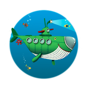 illustration of a green submarine from the picture book Grandude's Green Submarine by Paul McCartney