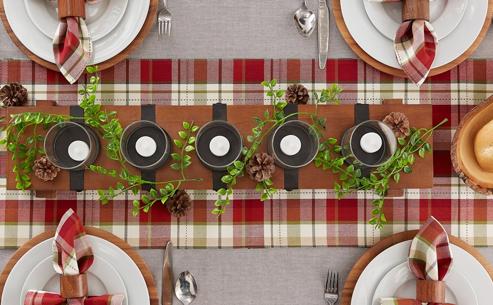 Outdoor-theme table setting designed with DII's Mountain Plaid Collection tabletop linens.