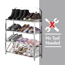 HOUZE-4 Tier Installation Free Stainless Steel Shoe Rack : Free installation, No Installation Needed