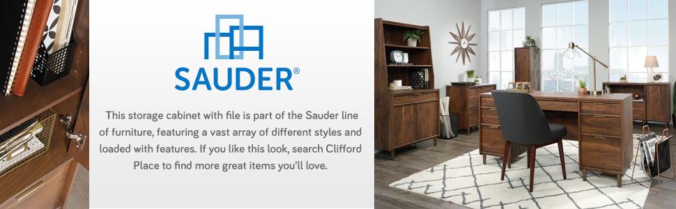 Sauder Clifford Place Storage Cab W/File, in a Grand Walnut Finish