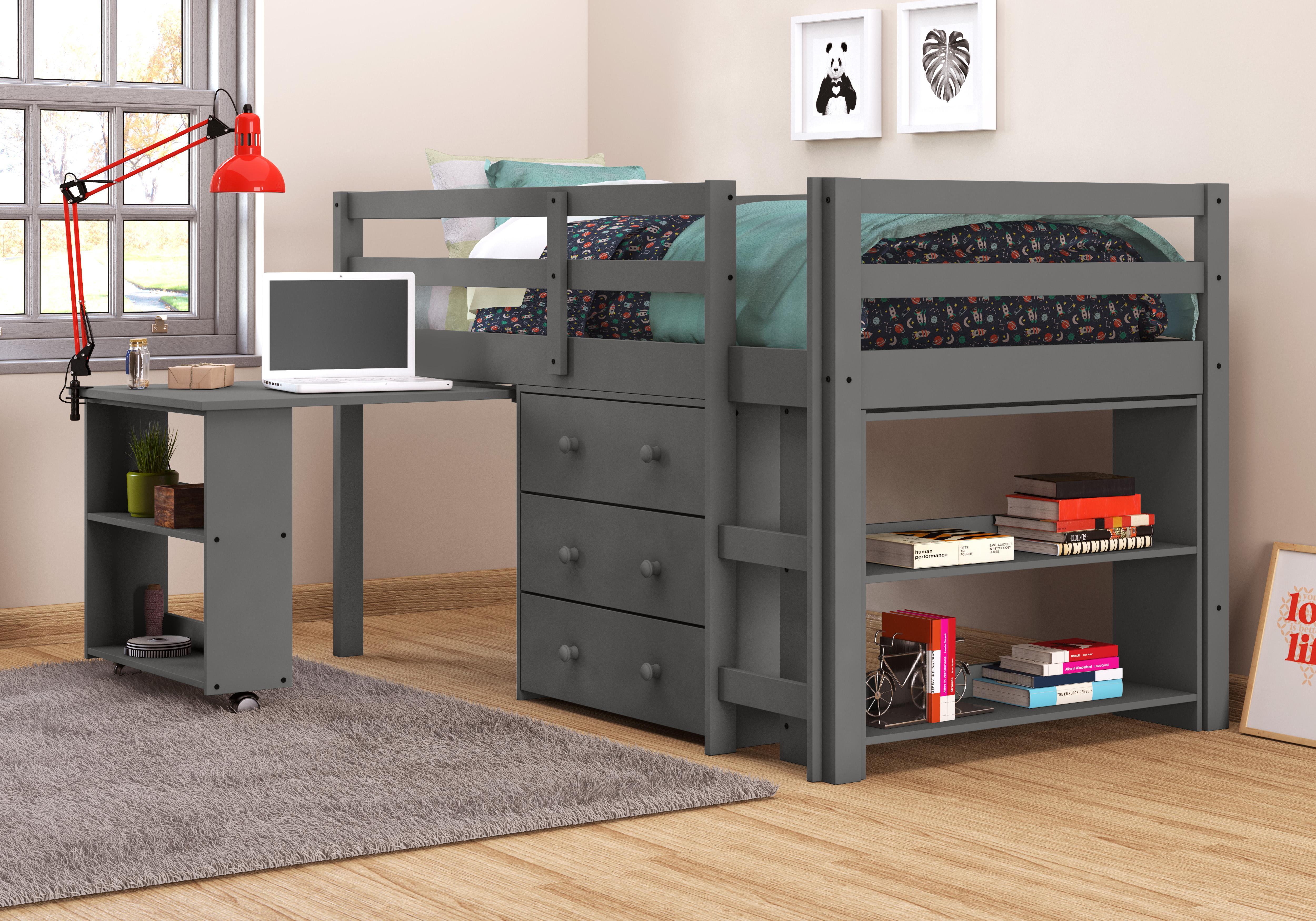 Wondrous Donco Kids 760 Tdg Low Loft Bed With Desk Twin Dark Grey Home Interior And Landscaping Ponolsignezvosmurscom