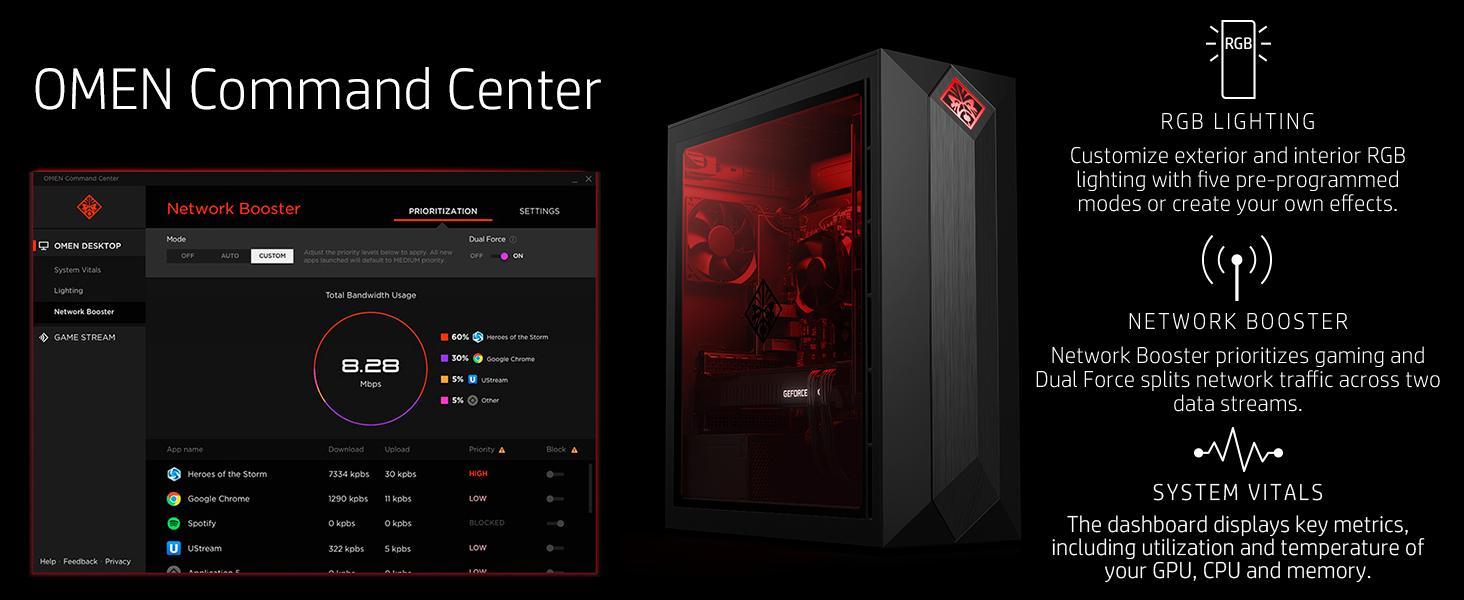 OMEN by HP Obelisk Gaming Desktop Computer, Intel Core i5-8400 Processor,  NVIDIA GeForce GTX 1060 6 GB, HyperX 8 GB RAM, 256 GB SSD, VR Ready,  Windows