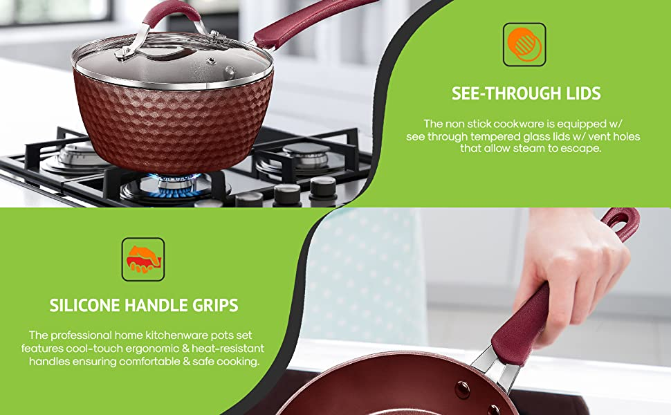 kitchen ware;nonstick cookware;cooking sets;cooking sets;green ceramic kitchen knives with b...