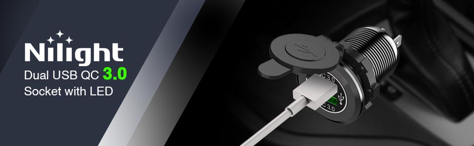 Nilight Dual QC 3.0 USB Socket