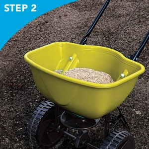 wheelbarrow; spreader; wheels; seedlings; sunny area; tires; course; field; pasture; forage; cow