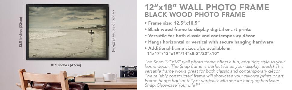 Amazon Com Snap 12 By 18 Inch Black Wood Photo Frame