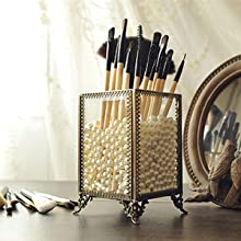 Makeup Organizer Vintage Make up Brush Holder with Free White Pearls - Small