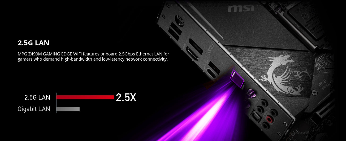 msi, mpg z490m gaming edge wifi, 2.5g lan, gigabit ethernet, wired internet