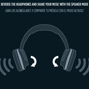 Auriculares Reversibles, inalámbrico,altavoz, tarjeta sd, nfc, micrófono, bluetooth,