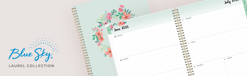 blue sky laurel academic collection banner, planners, calendars, weekly, monthly, 2021-2022