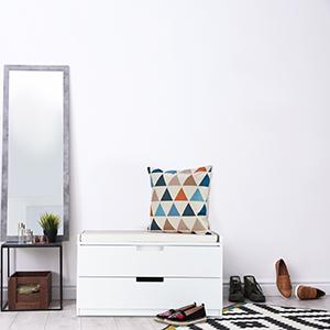 Banquette 2 tiroirs HLP 45 x 80 x 36 cm Blanc Couloir Commode Rangement Relaxdays Banc /à Chaussures Meuble entr/ée