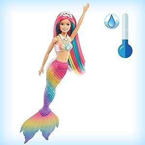 Barbie Dreamtopia poupée Sirène Magique avec Chevelure Arc-en-Ciel, change de couleur dans l'eau