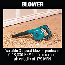 blower variable 3-speed speed produces RPM maximum air velocity MPH DUB182