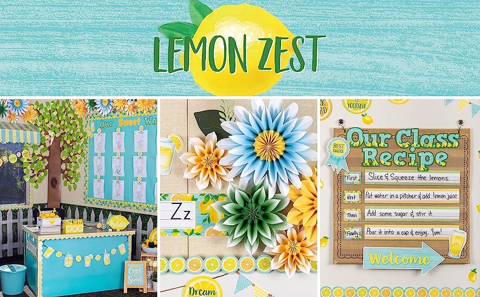 lemon zest theme header with classroom photos