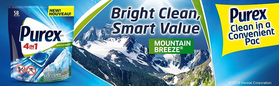 Purex 4-in-1 Detergent Pacs Mountain Breeze 2019